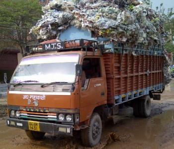 Inde,taxi,camion,chargé